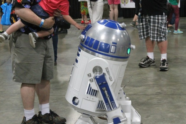 Celebrity droid R2-D2 roamed the show floow
