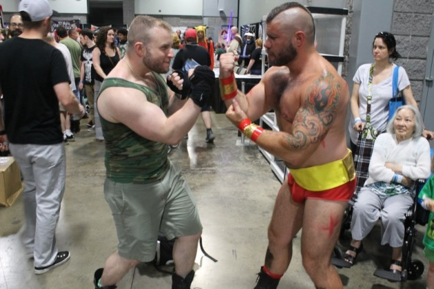 Zangief and Guile cosplayers Andy Hill (right) and Aaron Roenthal