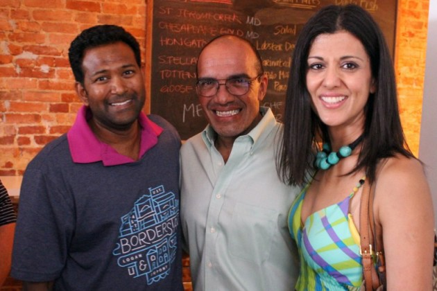 Kishan Putta (left) with Luis Gomez and Jasmin Jalala