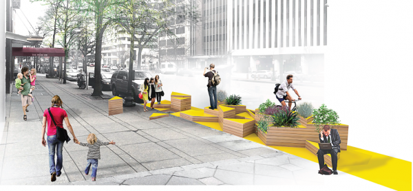 New Parklet on K Street, photo courtesy of Golden Triangle BID