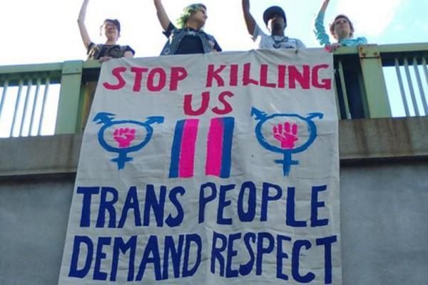 Trans-rights activists at Dupont Metro