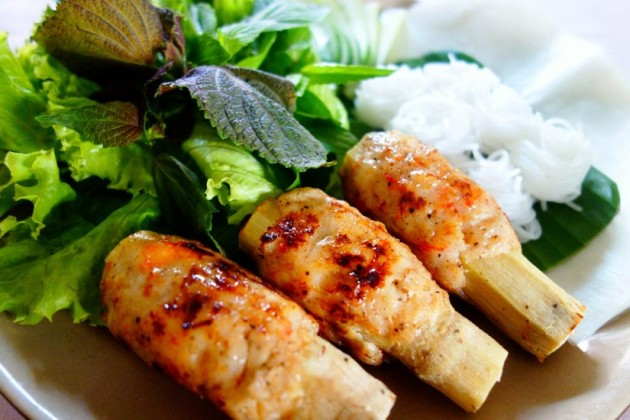 Chao Tom (shrimp on sugar cane with vermicelli)