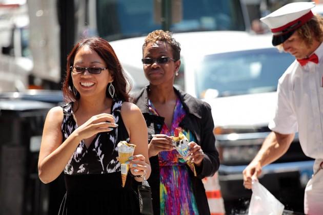 Locals enjoy free ice cream