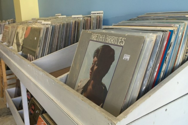 Boxes of records await curious customers