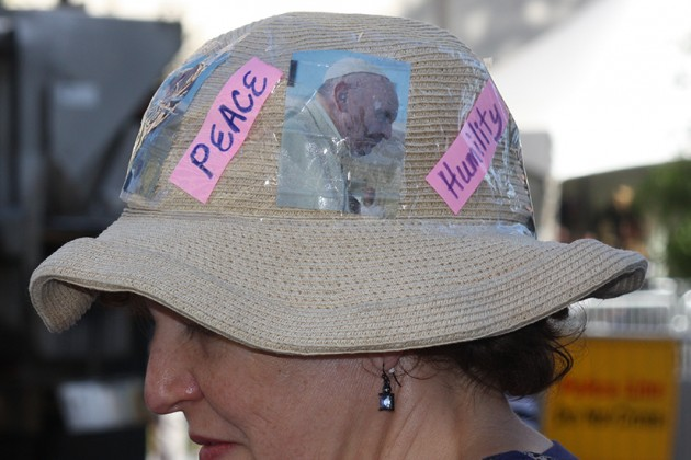 Some pope-watchers came decked out in Francis attire