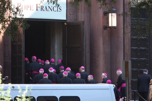 Bishops filed into the church to see Pope Francis