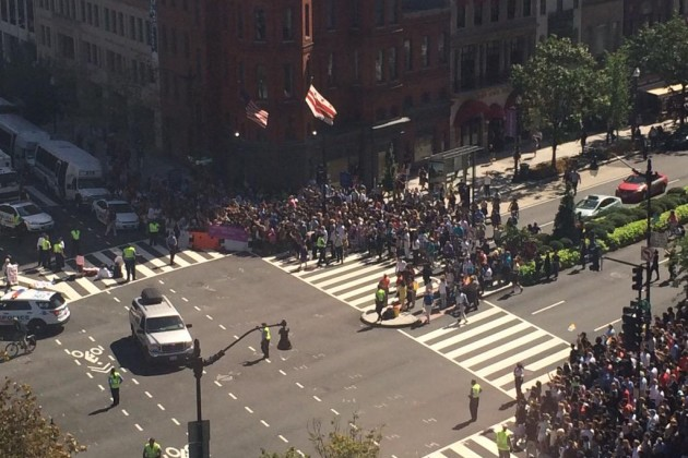 Crowds blocked the street to get a view of Pope Francis