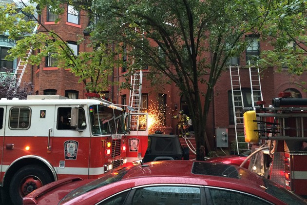Firefighters sawed through bars to gain access to the building