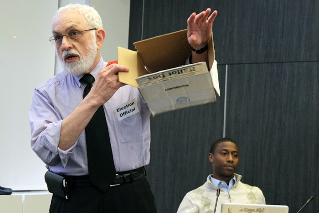 Director of the Office of ANCs, Gottlieb Simon demonstrated that the ballot box was empty