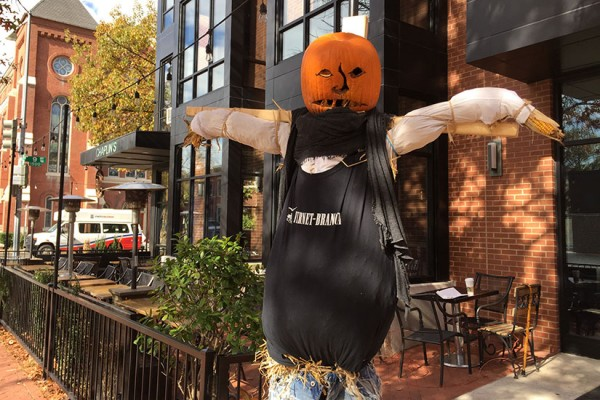 Scarecrow outside Chaplin's Restaurant in Shaw