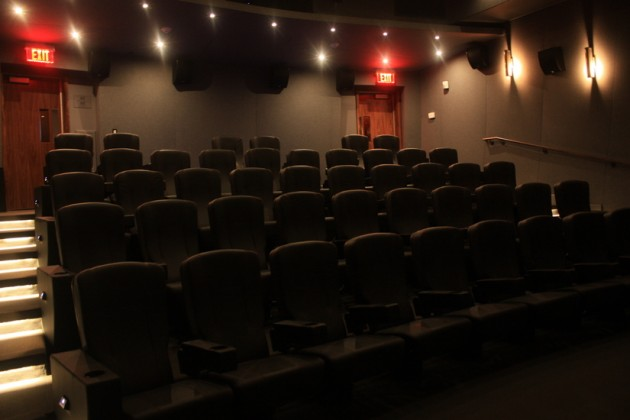 Each theater holds between 44 and 55 people