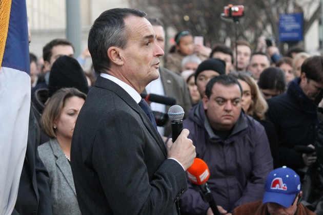 French ambassador Gérard Araud spoke to the crowd in English and in French