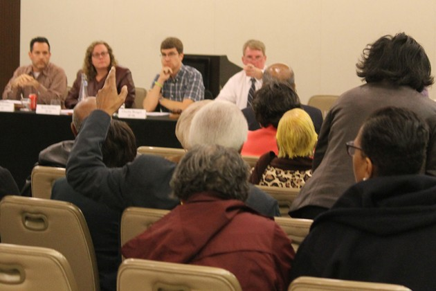 Church members packed the meeting room to weigh in on the discussion
