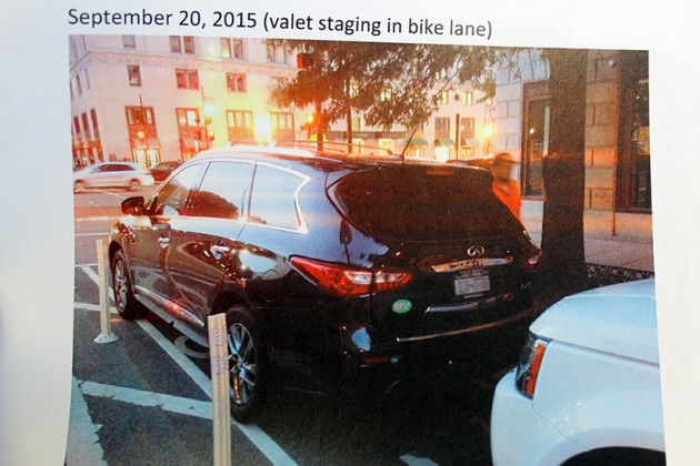 Smith presented photos he said showed unauthorized valet parking in the bike lane