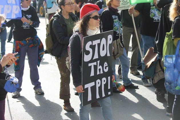 "Protestors chanted ""Stop the TPP,"" or the Trans-Pacific Partnership"