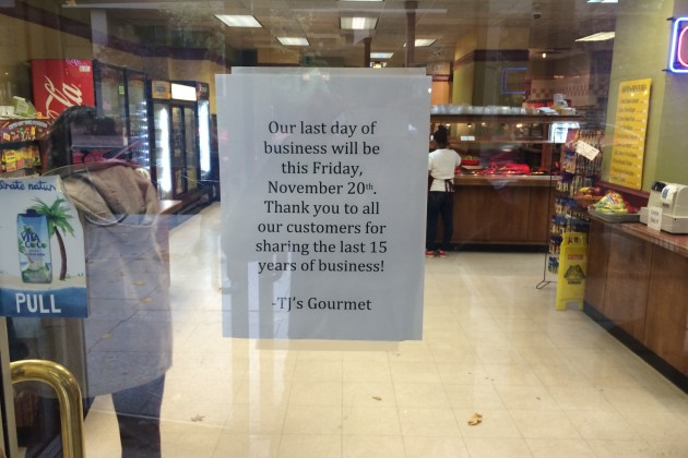 A sign on the door says the deli will close after 15 years in business