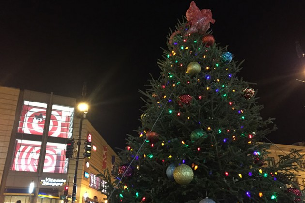Columbia Heights Civic Plaza's Christmas tree
