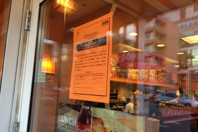 D.C. Department of Health notice on Dunkin' Donuts, dated Dec. 10