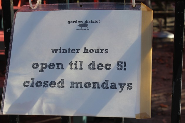 Garden District will close this Saturday and reopen next March