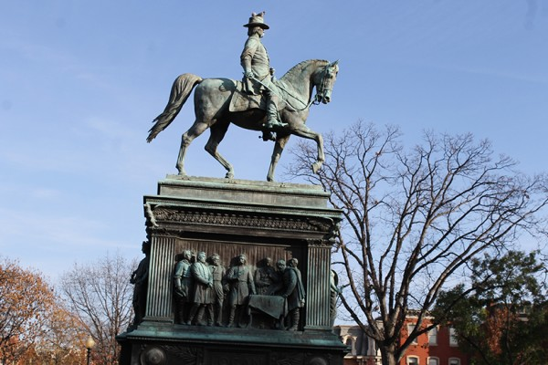 Logan Circle statue in winter