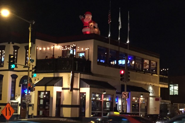 Nellie's Sports Bar's inflatable Santa and reindeer at 900 U St. NW