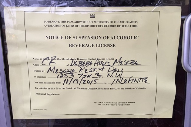 Notice of Suspension of Alcoholic Beverage License at Oove and Mesobe Restauarant