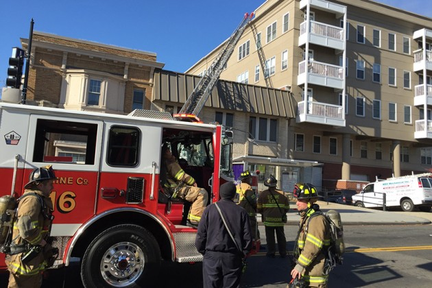 Firefighters responded to the two-alarm blaze around 10:30 a.m.