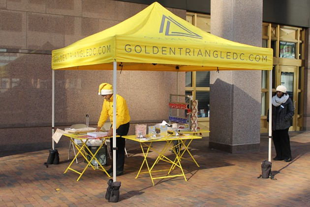 Golden Triangle tent set up on 19th Street