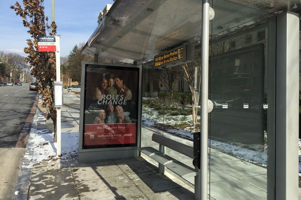 Bus stop at 16th and V streets NW
