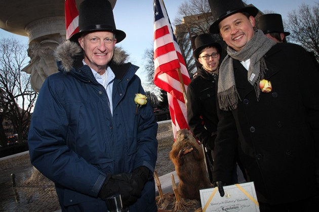 Ward 2 D.C. Councilmember Jack Evans (left), Potomac Phil and Aaron DeNu in 2013