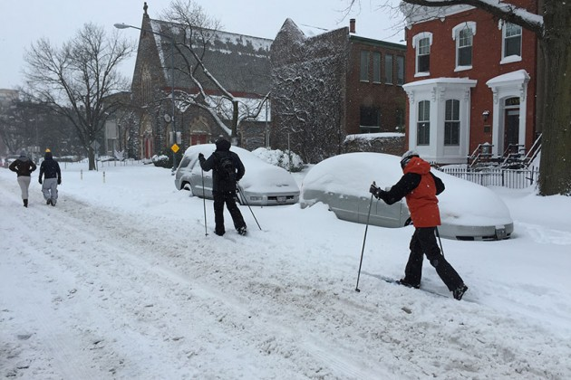 Cross country skiers on 15th Street NW