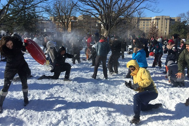 Meridian Hill Park snowball fight