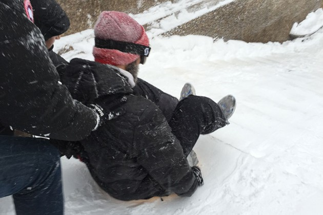 A sledder at Meridian Hill Park