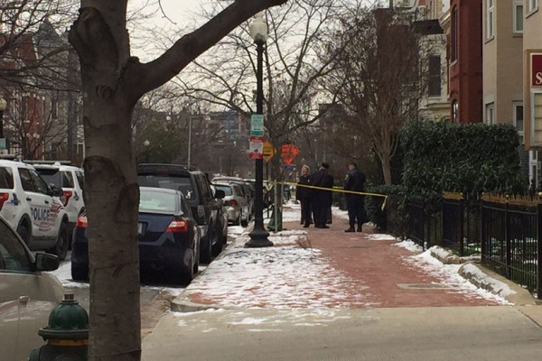Scene after shooting on the 400 block of M Street NW on Jan. 22, 2016 (Photo via Twitter/Kori Hill Wallace)