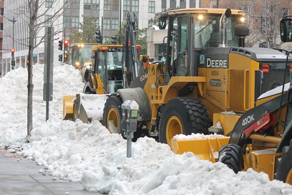 Snow and bulldozer during Snowzilla