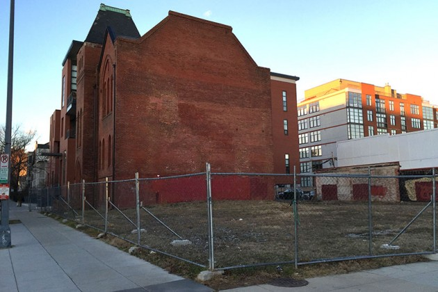 The site of the city's planned Ward 1 shelter at 10th and V streets NW
