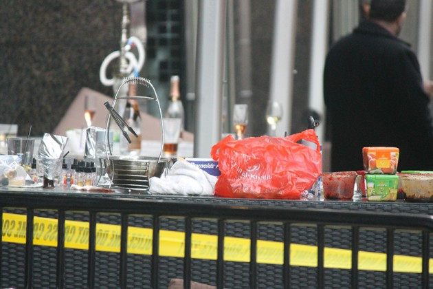 Food and half-finished drinks left out hours after the crime happened