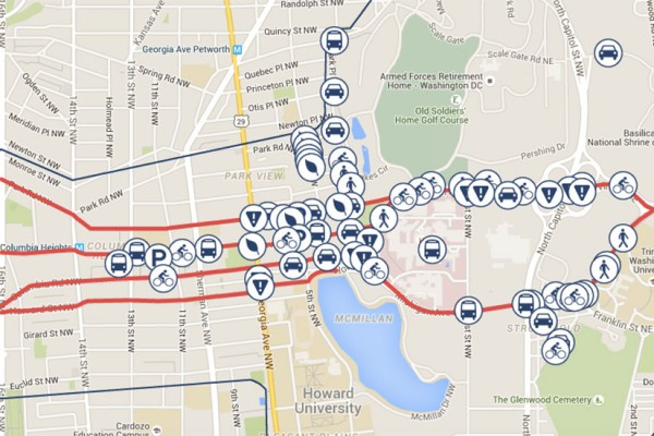Crosstown Multimodal Transportation Study map (Photo via Google Maps/DDOT)