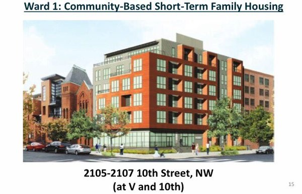 Renderings of the short-term family housing unit planned for 10th and V streets NW