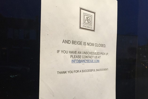 """And Beige is now closed,"" reads the sign on the door"