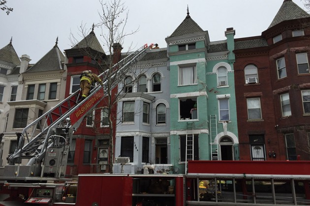A fire broke out at a three-story home this afternoon