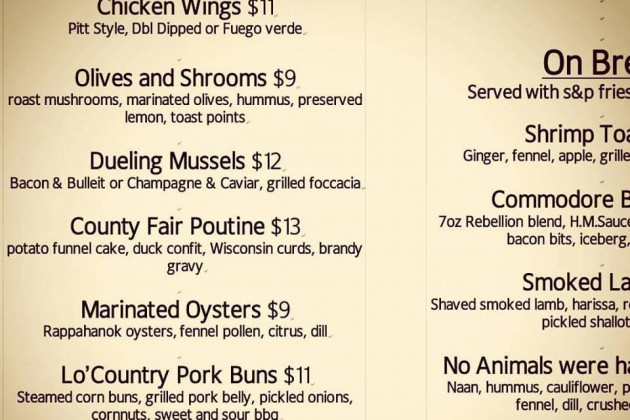 The new eatery's menu includes oysters, poutine and chicken wings