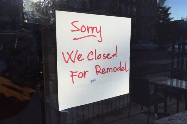 The business is closed for remodeling, according to a sign on the door