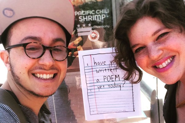 Mount Pleasant Poetry Project founders Oliver Bendorf and Temim Fruchter (Photo via Mount Pleasant Poetry Project)