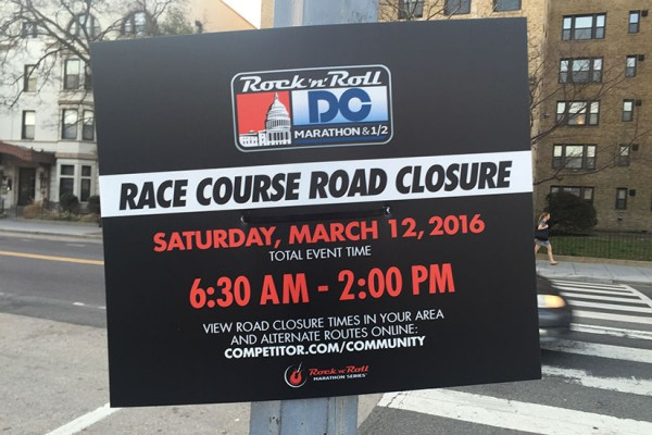 Rock 'n' Roll Marathon street closure sign