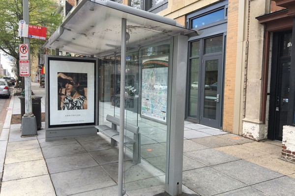 Bus stop on the 1300 block of 14th Street NW