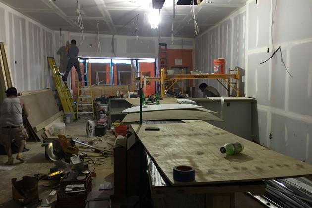 El Tamarindo's bar under construction