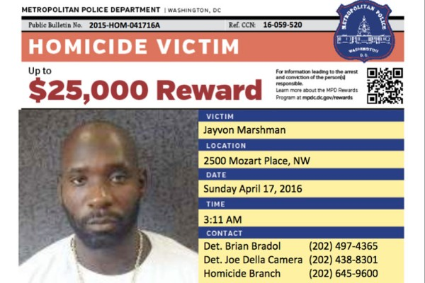 Homicide reward flyer (Image via MPD)