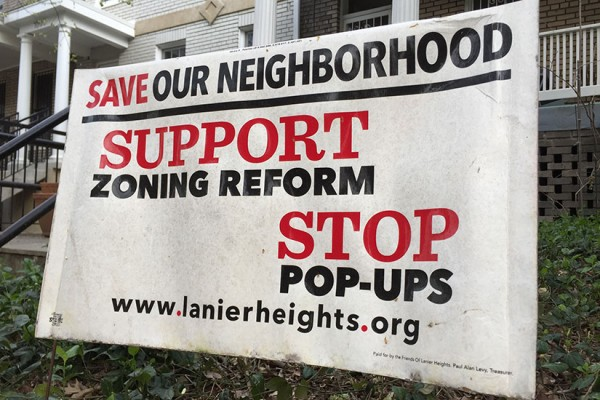 Lanier Heights zoning reform sign