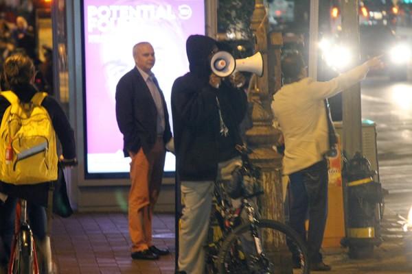 Megaphone man on 14th Street